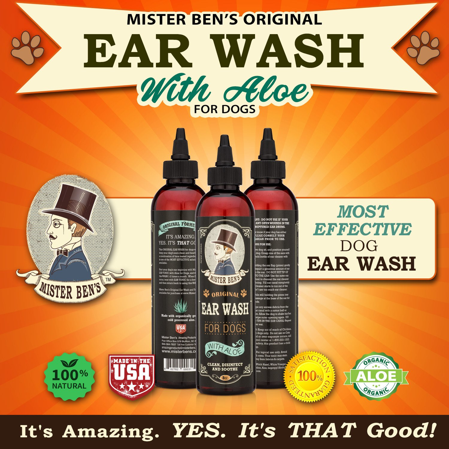 Mister Ben's MOST EFFECTIVE DOG EAR WASH Voted the Best Dog Ear Cleaner - Provides FAST RELIEF from Dog Ear Infections, Irritations, Itching, Odors, Bacteria, Mites, Fungus & Yeast by Mister Ben's (Image #6)