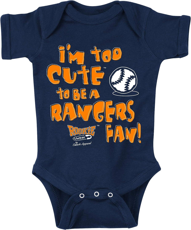 Navy Onesie or Toddler Tee Smack Apparel Houston Astros Fans Too Cute Anti-Rangers NB-4T