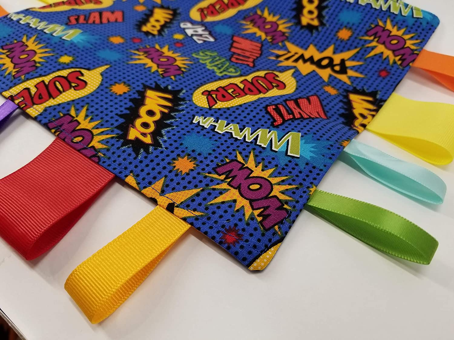 Comic Action Words Tag and Crinkle Square