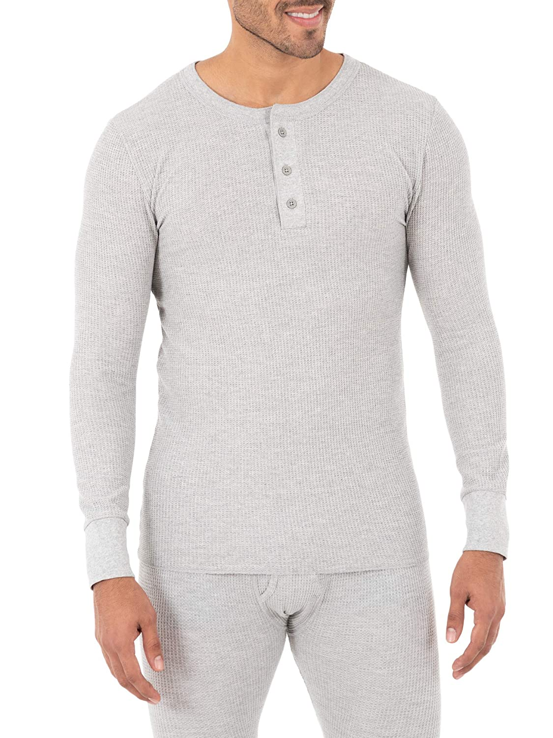Fruit of the Loom Mens Classic Midweight Waffle Thermal Henley Top