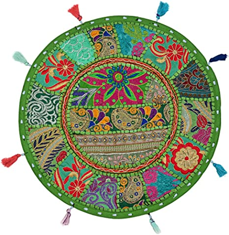 Indian Round Ethnic Indian Cotton Floor Cushion Cover Cotton Patchwork Embroidered Decor 18 Seating Floor Throw Pillow Cover Footstool