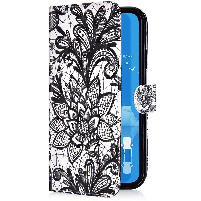 Uposao Nokia 7 Plus Coque /Étui /à Rabat en Cuir PU,3D effet Motif Color/é Fleur Pochette Portefeuille Housse Luxe de Glitter Folio Flip Case Stand Coque pour Nokia 7 Plus,Neige Loup