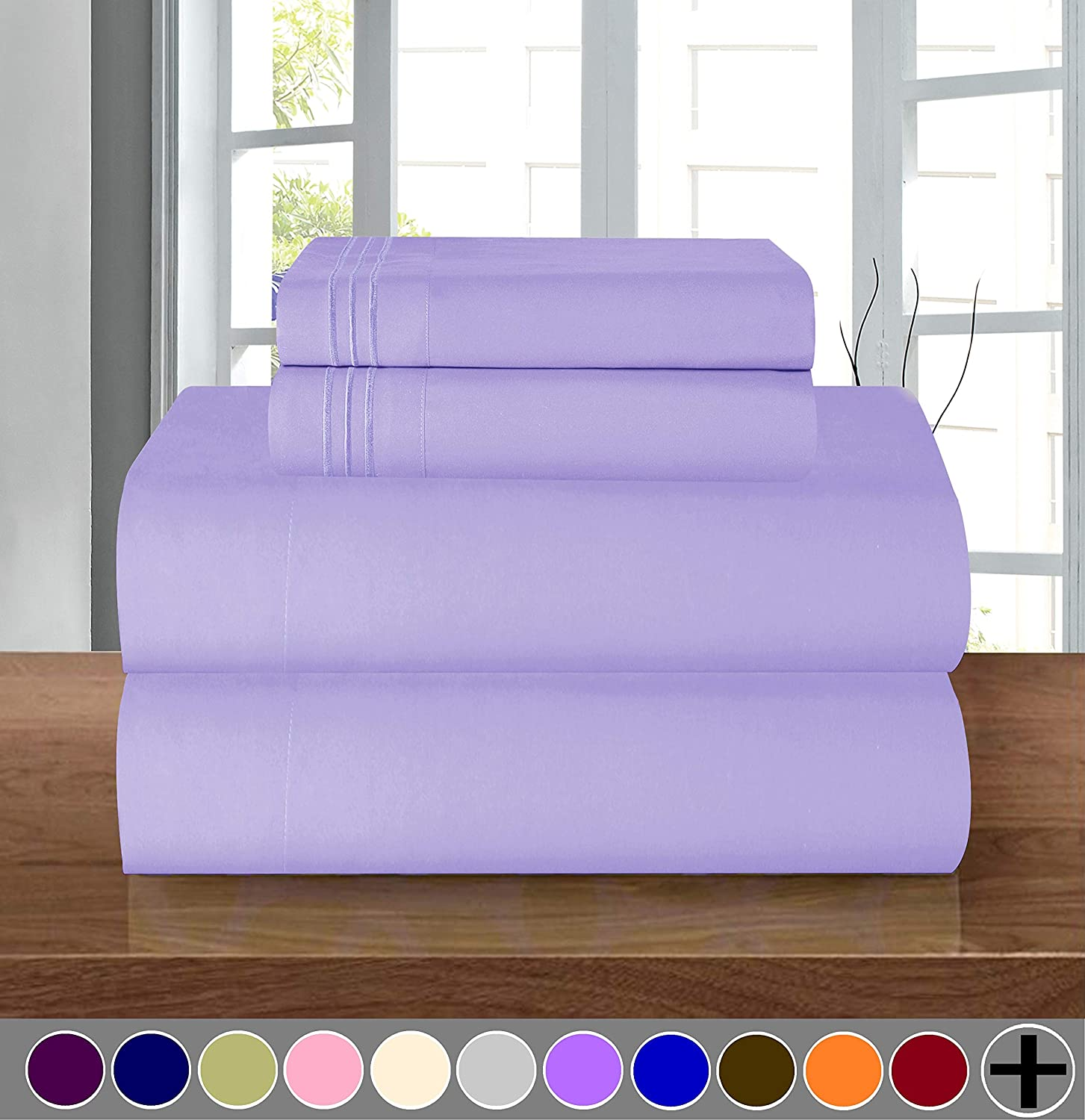 Elegant Comfort Luxury Soft 1500 Thread Count Egyptian Quality 3-Piece Sheet Wrinkle and Fade Resistant Bedding Set, Deep Pocket up to 16inch, Twin/Twin XL, Lavender
