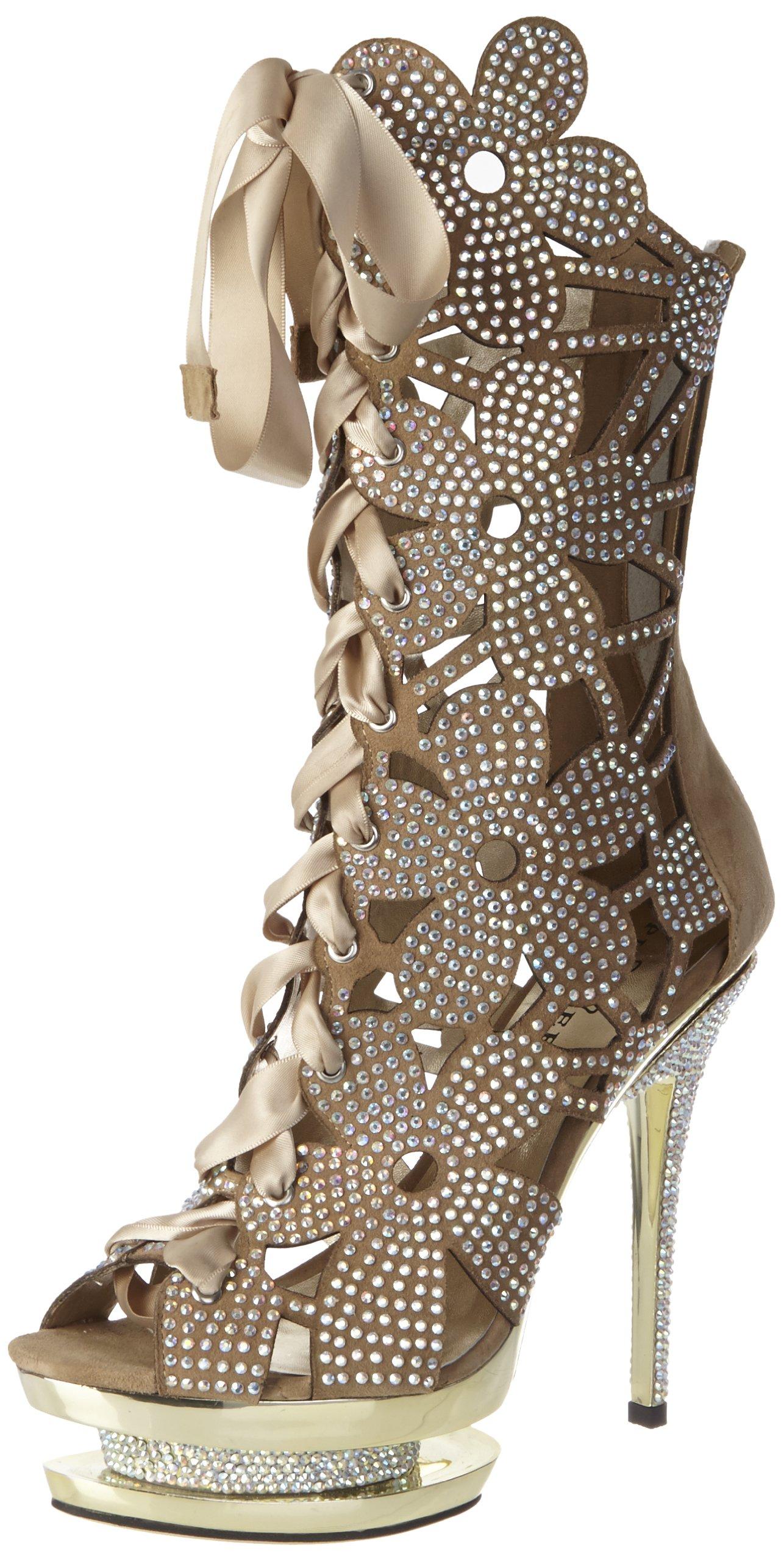 Pleaser Women's Fantasia-1020 Platform Sandal,Blush Suede/Gold Chrome,8 M US