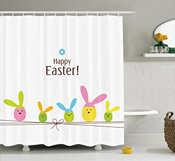Easter Shower Curtain By Ambesonne, Simplistic Cartoon Eggs With Bunny Ears  Standing On A Rope