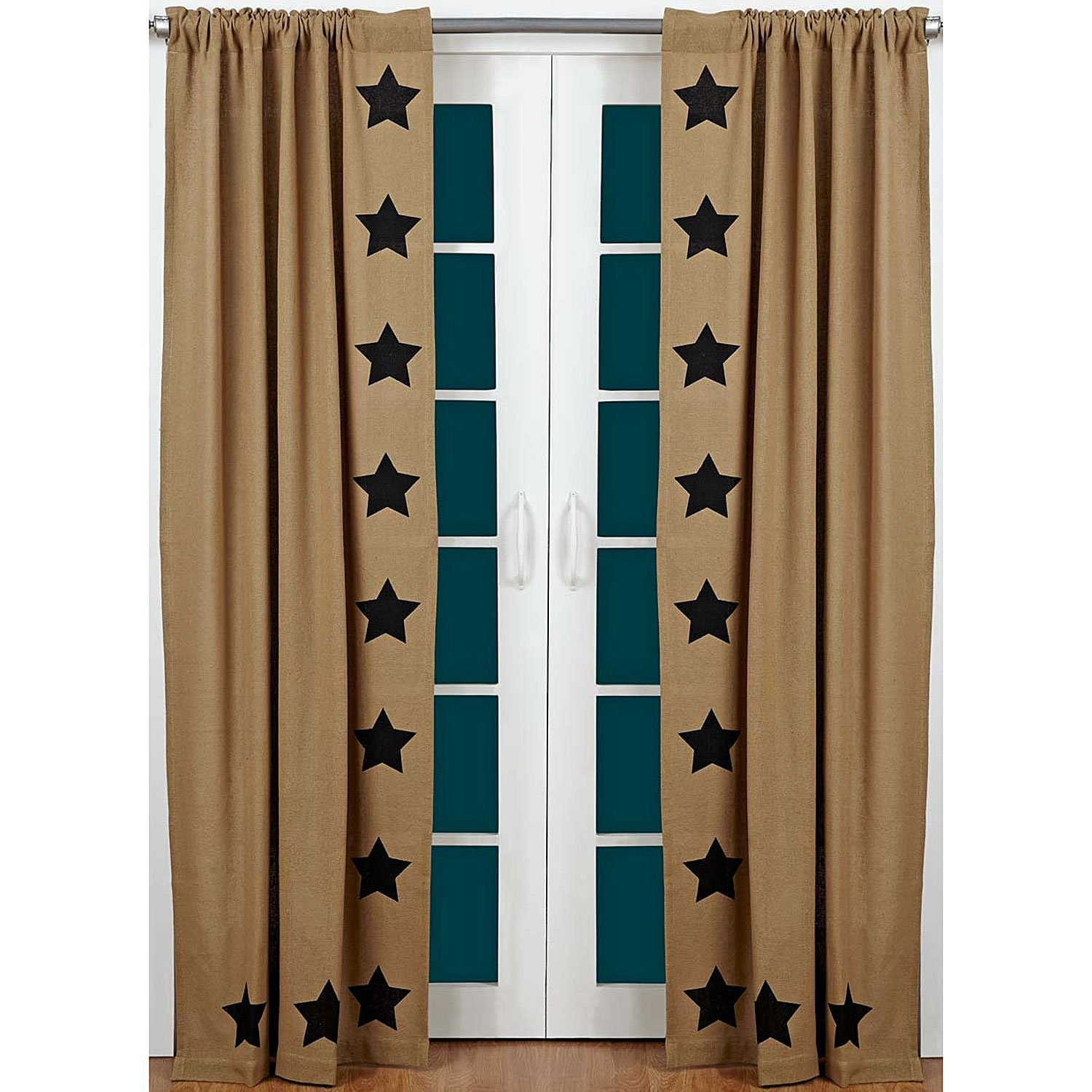 Burlap Natural Panel Black Stencil Stars