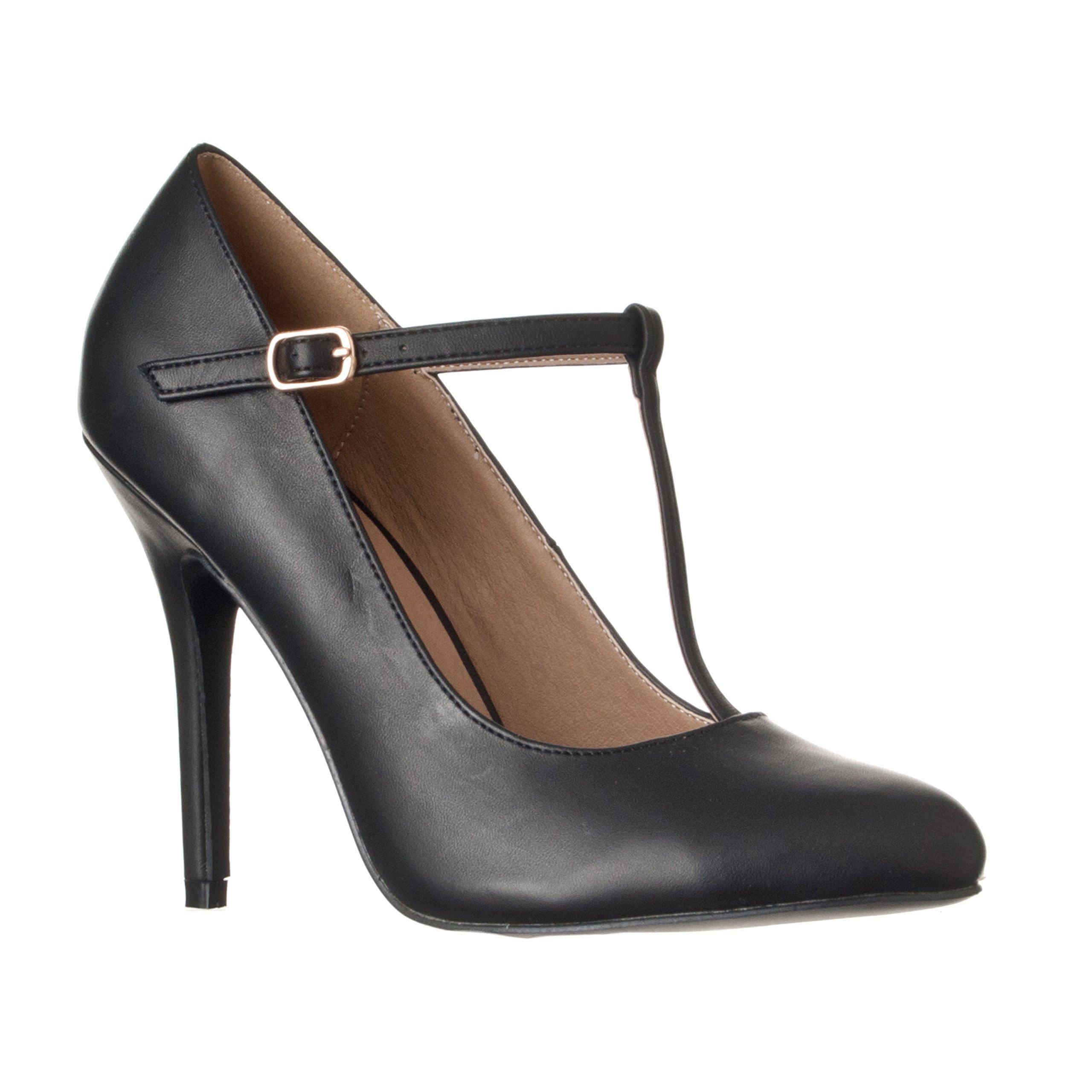 Riverberry Women's Sadie Round Toe T-Strap High Heel Pumps, Black PU, 8.5