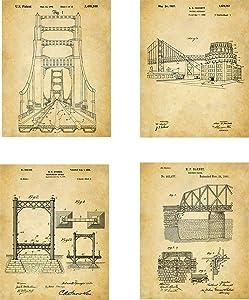 Bridge Architecture Patent Wall Art Prints - set of Four (8x10) Unframed - wall art decor for bridge engineering
