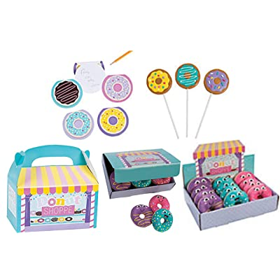 Donut Shoppe Party Favor Set- Donut Party Decorations, 12 Treat Boxes,12 Suckers, 12 Notepads and 12 Squishies with Display: Health & Personal Care
