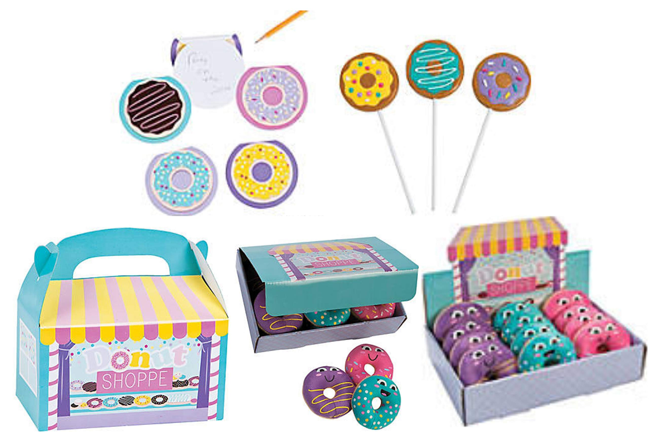 Donut Shoppe Party Favor Set- Donut Party Decorations, 12 Treat Boxes,12 Suckers, 12 Notepads and 12 Squishies with Display