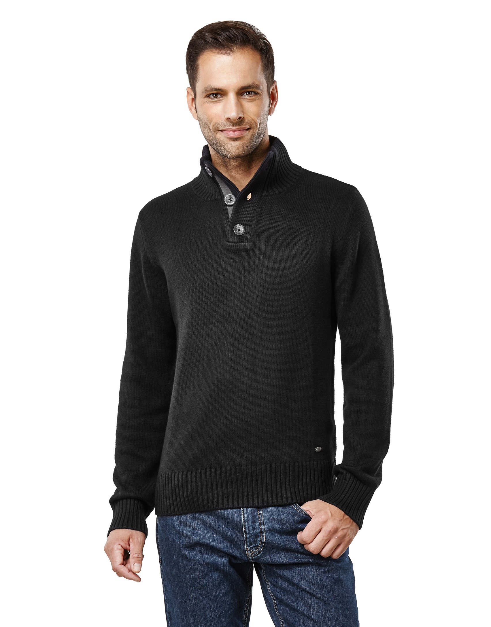Vincenzo Boretti Men's Sweater Troyer Chunky Knit Ribbed Turtle-Neck Black Medium