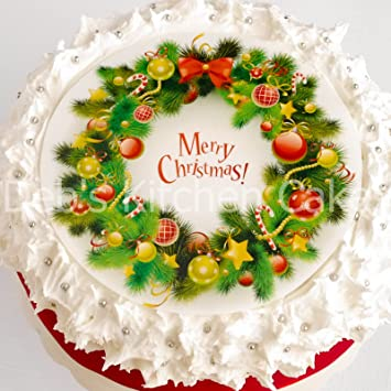 Christmas Cake Decorations.Christmas Cake Topper Merry Christmas Wreath Cake Decoration Edible Icing Or Wafer 7 5 19cm Round Edible Icing