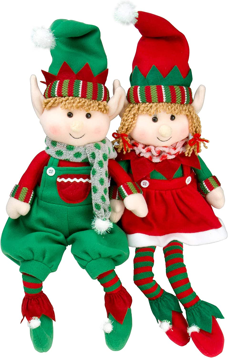 """SCS Direct Elf Plush Christmas Stuffed Toys- 12"""" Boy and Girl Elves (Set of 2) Holiday Plush Characters - Fun Decorations and Toys for Kids"""