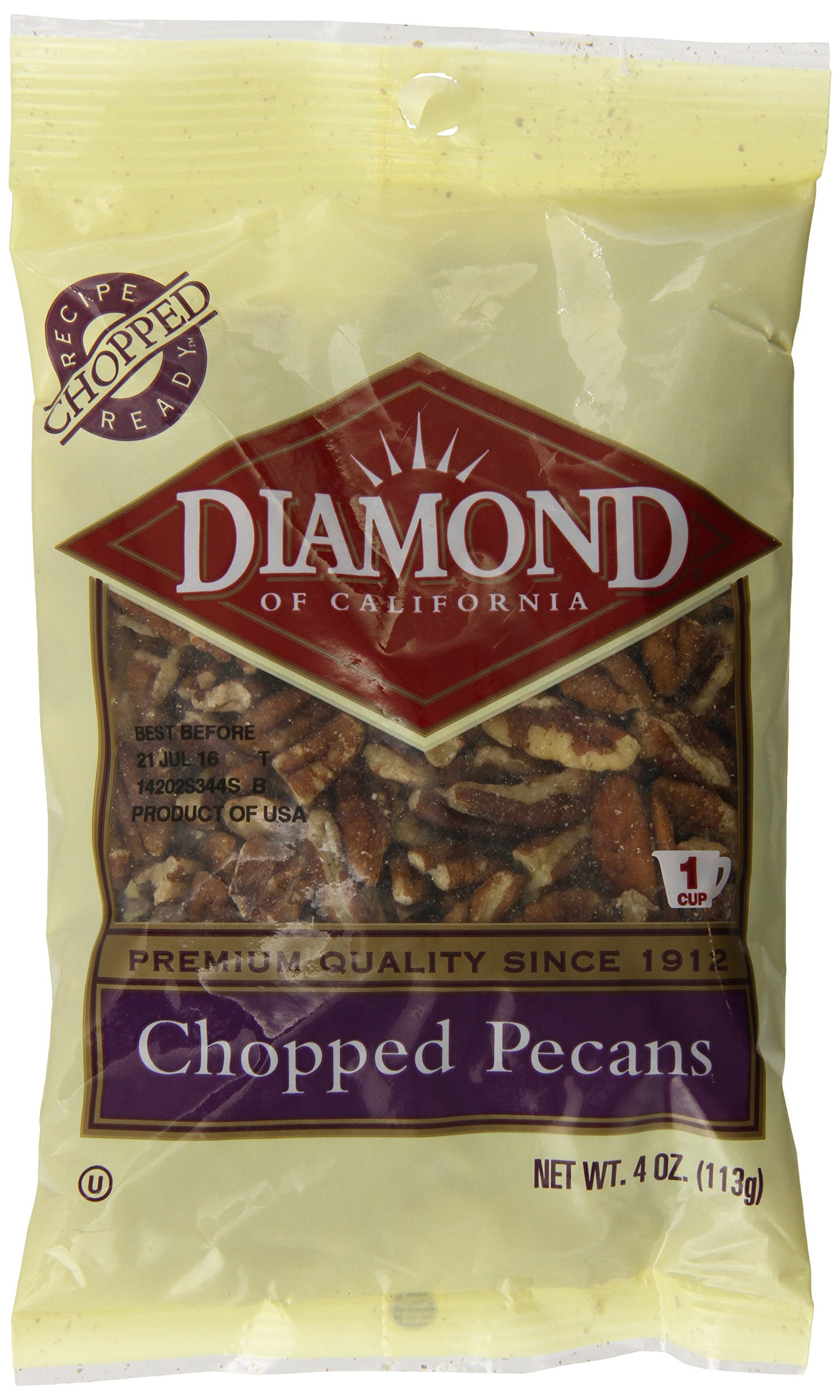 Diamond of California, Chopped Pecans, 4 Ounce (Pack of 12)