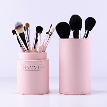 essential makeup brush set with makeup brush holder leather carrying case 12 quality
