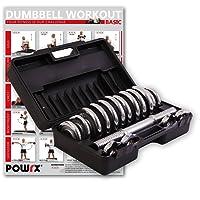 POWRX Chrom Hantel Set 15 kg (2 x 7,5 kg) inkl. Workout Kurzhanteln mit Koffer Chromhanteln