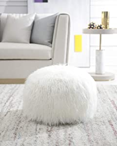 Comfortland Unstuffed Pouf Covers, Folding Faux Fur Ottoman Poufs,22x12 Foot Rest, Foot Stool, Bean Bag Chair, Storage Solution for Living Room, Bedroom, Kids Room or Wedding Gifts(Off White)