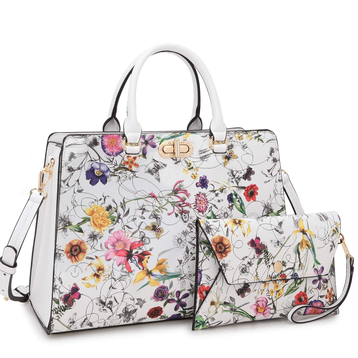 Women's Fashion Handbags Tote Purses Shoulder Bags Top Handle Satchel Purse Set 2pcs 01- White Flower