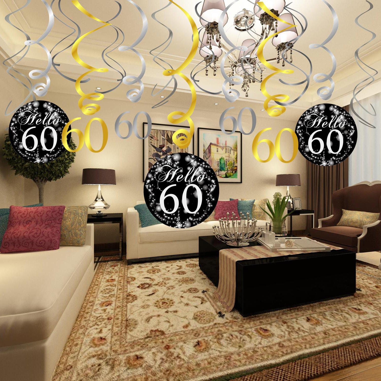Amazon Konsait 60th Birthday Decoration Hanging Swirl 15 Counts Happy 60 Table Confetti 105oz Black