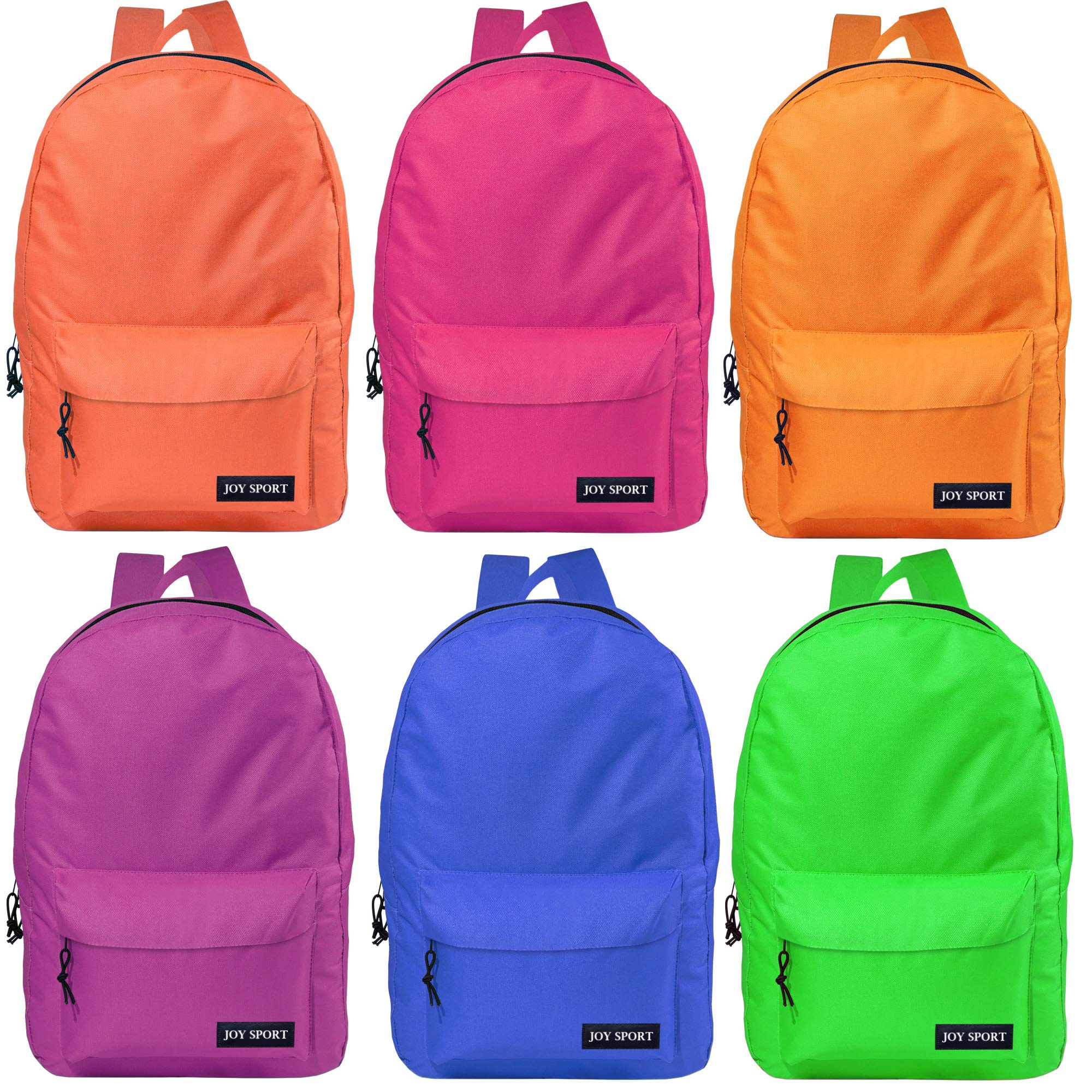 Wholesale Case of 48 Bookbags - 17-inch Classic Bulk Backpacks in 6 Assorted Colors by Joy Sport