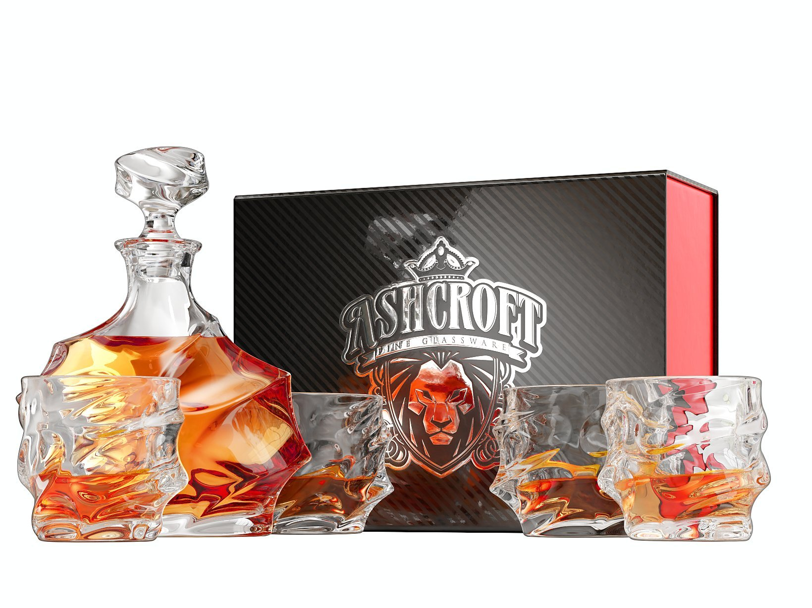 5-Piece Everest Whiskey Decanter Set. 4 Glasses and Scotch Decanter with Stopper. Unique Elegant Dishwasher Safe Glass Liquor Bourbon Decanter Ultra - Clarity Glassware by Ashcroft