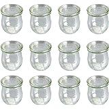 12er Pack Weck Tulpen Gläser Vorspeisen Dessert Glas mit Deckel 220ml Höhe 8,5cm Einmachglas Einkochglas