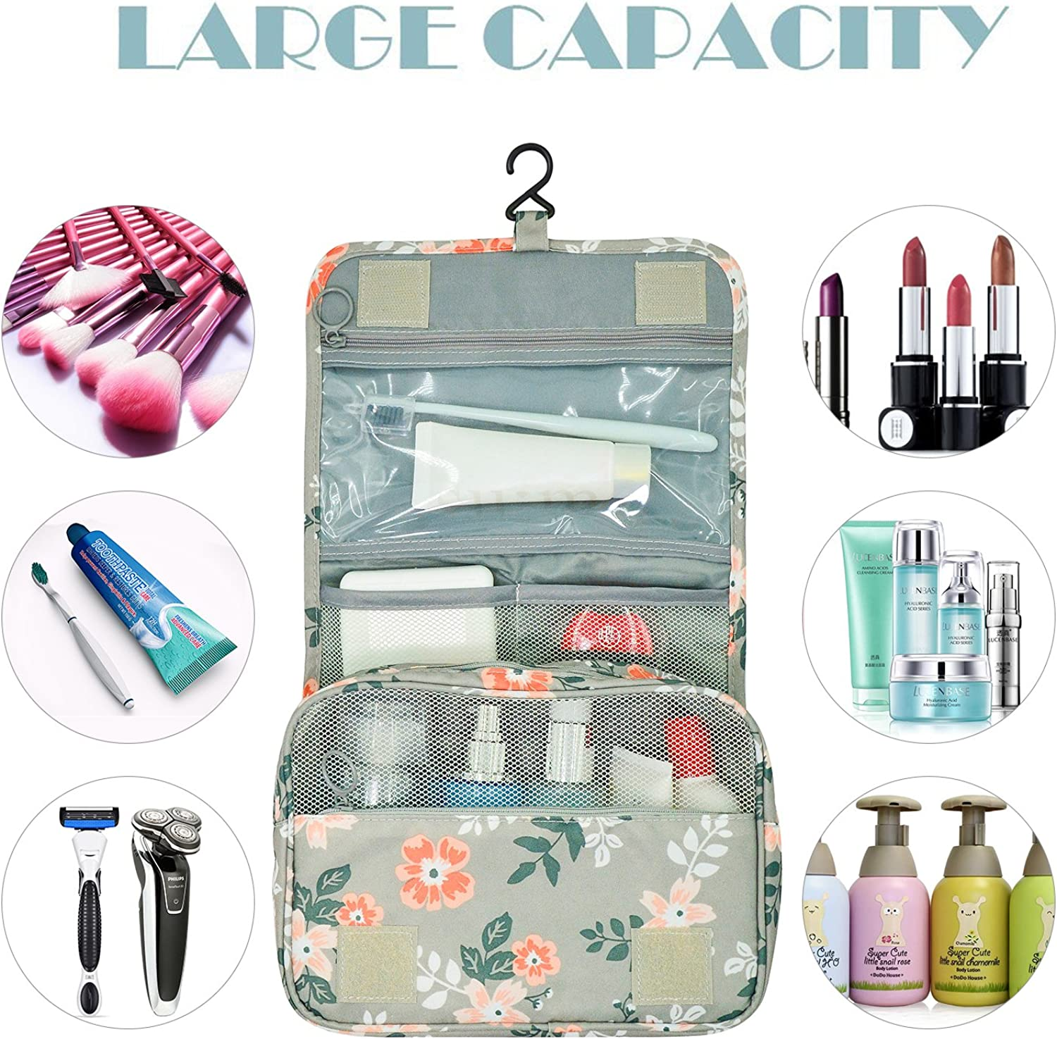 Portable Hanging Travel Toiletry Bag Waterproof Makeup Organizer Cosmetic Bag Pouch