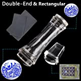 BTArtbox 2 Pcs Double Ended Rectangle Round and Jelly Clear Stampers Plate And Scrapers Set DIY Nail Art Tools Template Manicure Accessories