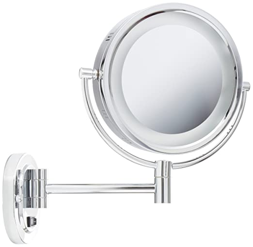 Jerdon Lighted Wall Mount Makeup Mirror