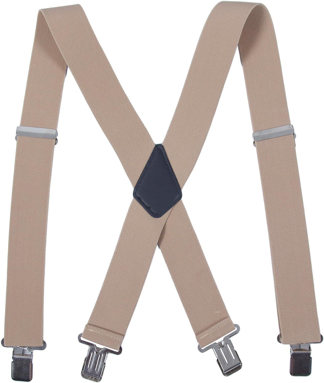 50mm Herren Hosenträger mit 4 Clips extra Breit X-Form Hosen starken Versch C
