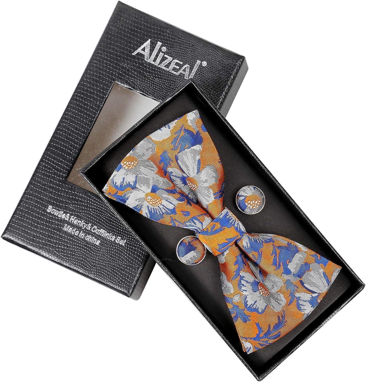 Alizeal-Homme-N/œud Papillon+Mouchoir+Boutons de Manchette