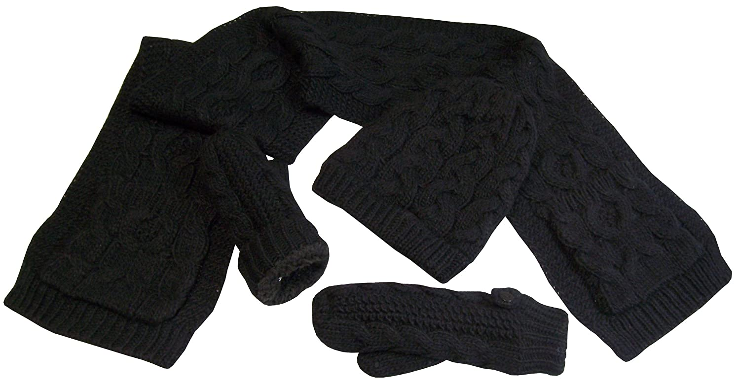 NIce Caps Girls Warm Sherpa Lined Cable Knit 3PC Accessory Set