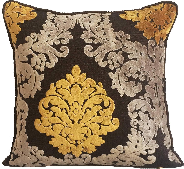 Damask cut velvet lumbar pillow cover 12x20/'/' Luxury Yellow Throw Cushion SALE