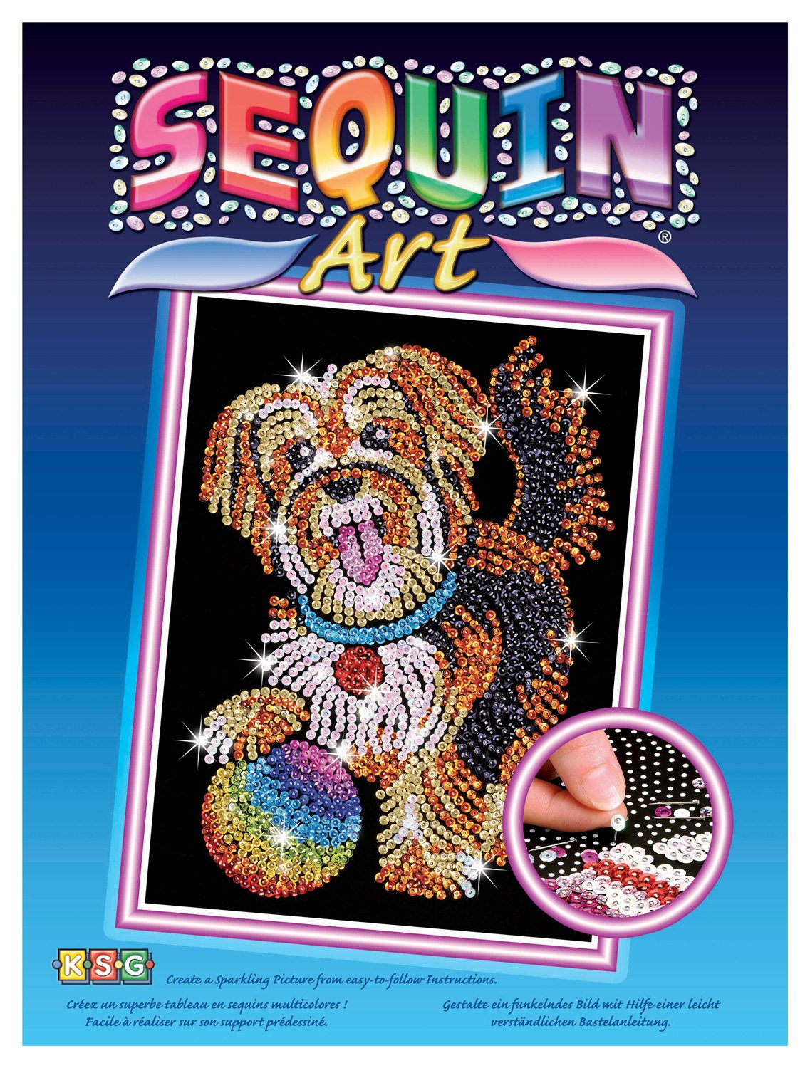 Creative Crafts Sequin Art Blue Kitten Sparkling Arts and Crafts Picture Kit