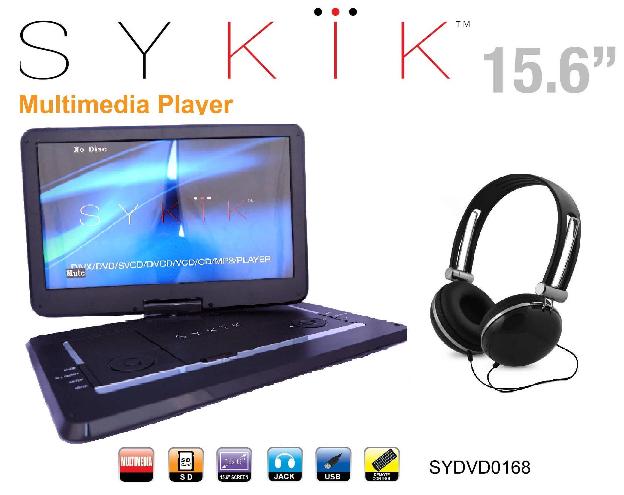 Sykik SYDVD0168 15.6'' All multi region, zone free, HD swivel portable DVD player,USB,SD ports with headphones, Ac adaptor,car adaptor Remote control (one year warranty) Black