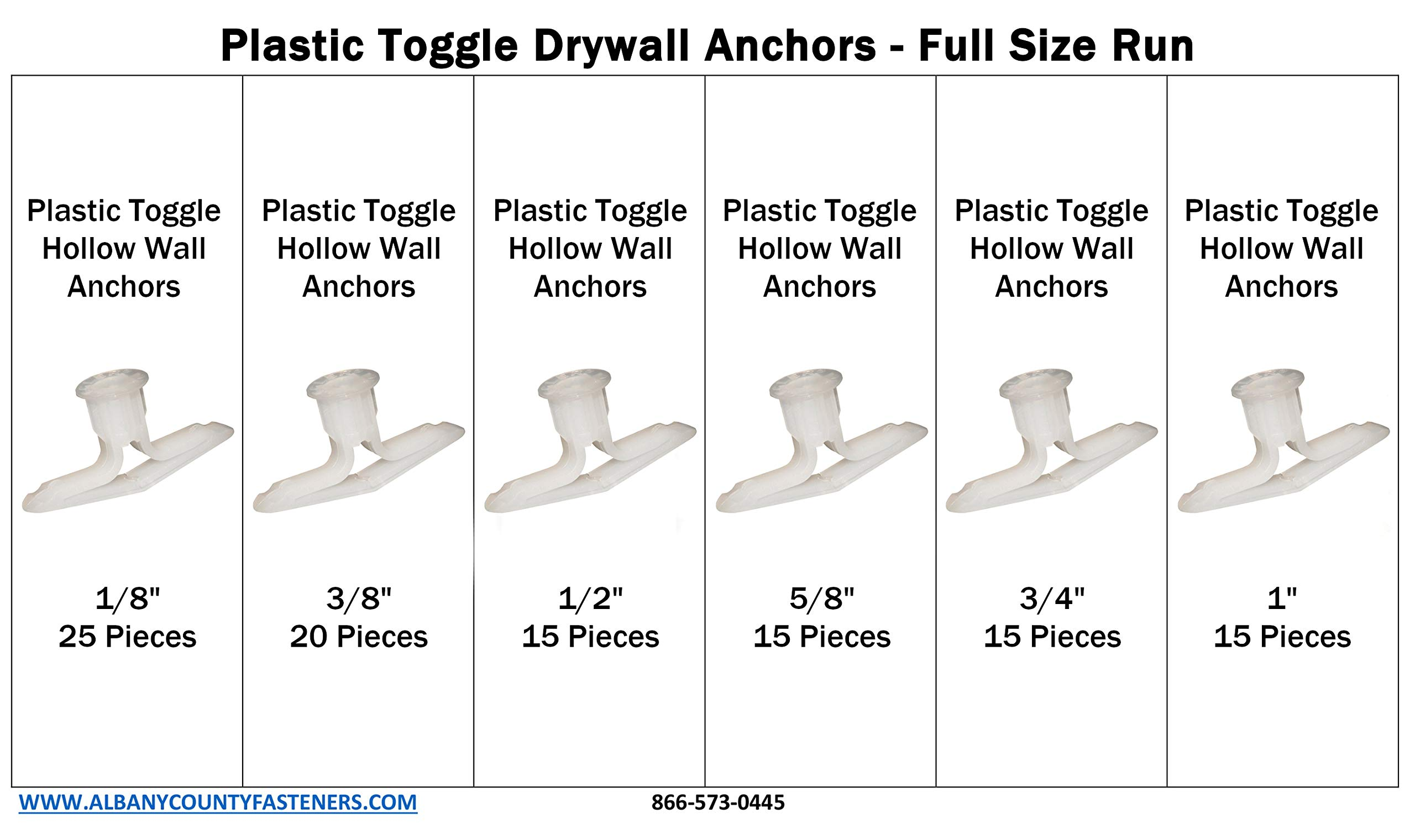 Plastic Toggle Drywall Anchors Size Run Assortment Kit 1/8 Through 1 inch Hollow Wall Anchors by ALBANYCOUNTYFASTENERS