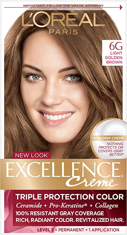 LOreal Paris Excellence Creme, 6G Light Golden Brown, (Packaging May Vary)