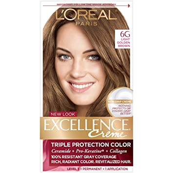 Lu0027Oréal Paris Excellence Créme Permanent Hair Color, 6G Light Golden Brown