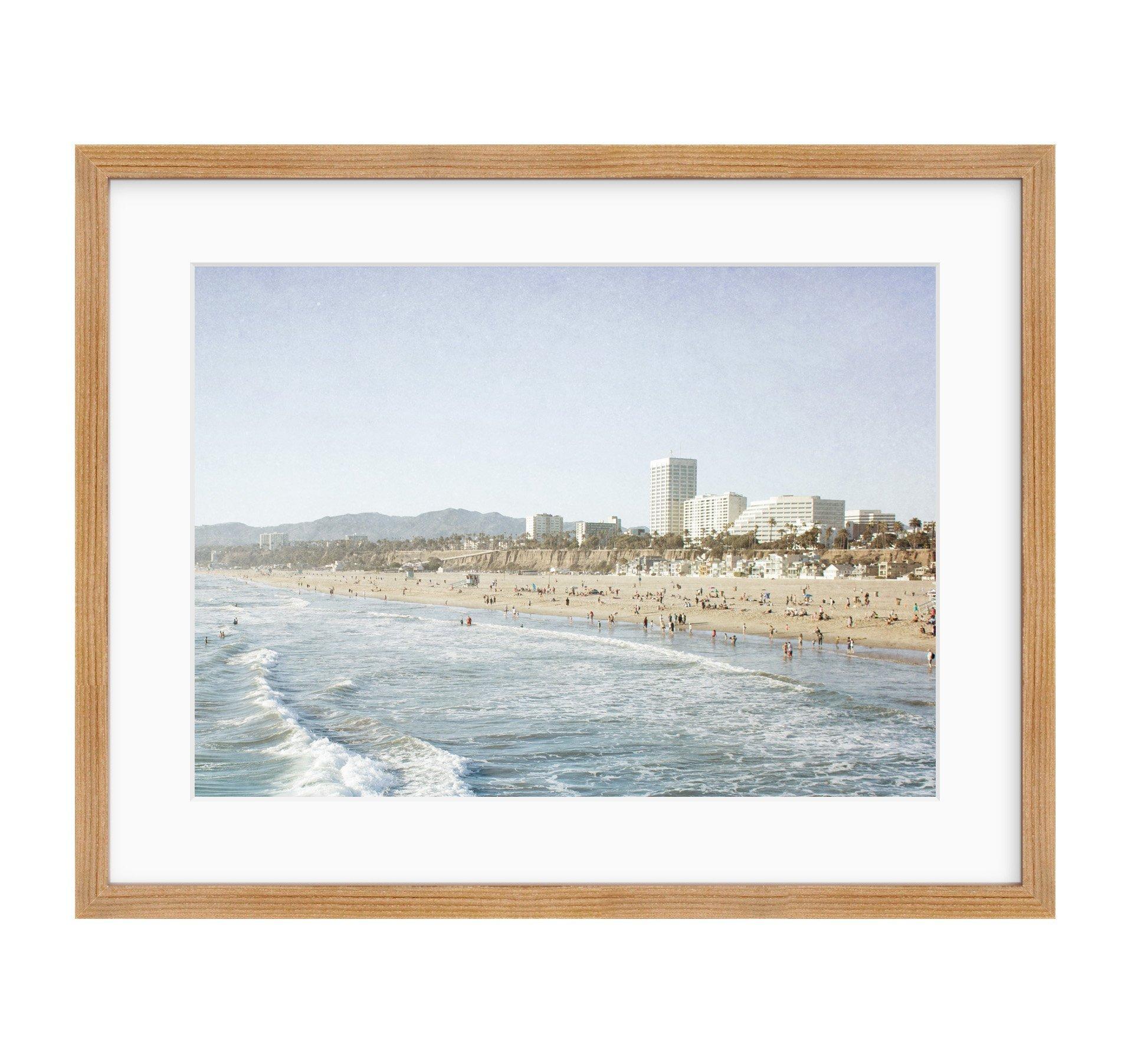 Framed Photographic Print, Santa Monica Wall Art, California Coastal Beach Decor, Santa Monica Seaside'
