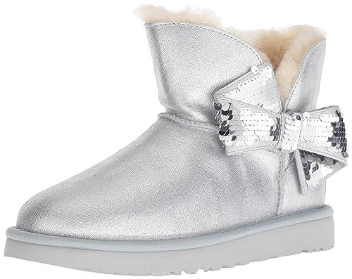 ab1e06da19 UGG - Boots Mini Sequin Bow - Silver, Size:9 UK: Amazon.co.uk: Shoes & Bags