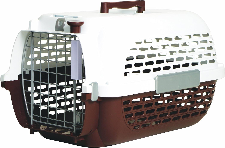 Dogit Transportín para Perros, Talla Pequeño, Color Marrón y Blanco, 48 x 32 x 28 cm