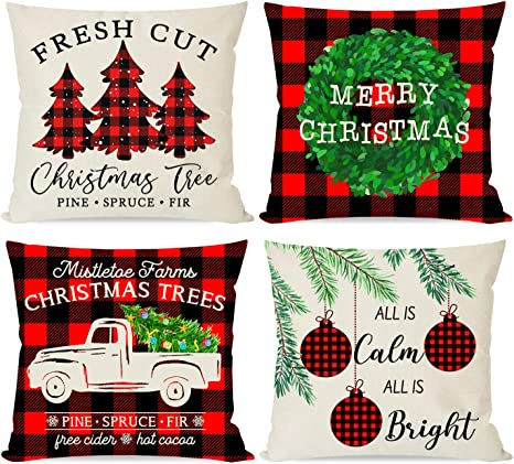 Christmas Pillow Covers 18 18 Inch Set of 4 Farmhouse Black and Red Buff Pillow