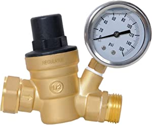 REGULATUS Upgraded Water Pressure Regulator 0-160 PSI Brass Lead-free Adjustable Pressure Reducer with Gauge for for RV travel trailer camper with oil Gauge and inlet screened filter. 1 YEAR WARRANTY.