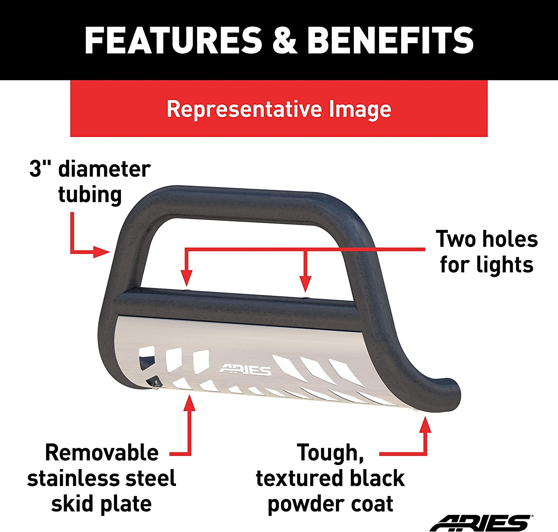 Ram 1500 ARIES P35-5005 Pro Series 3-Inch Black Steel Bull Bar Select Dodge