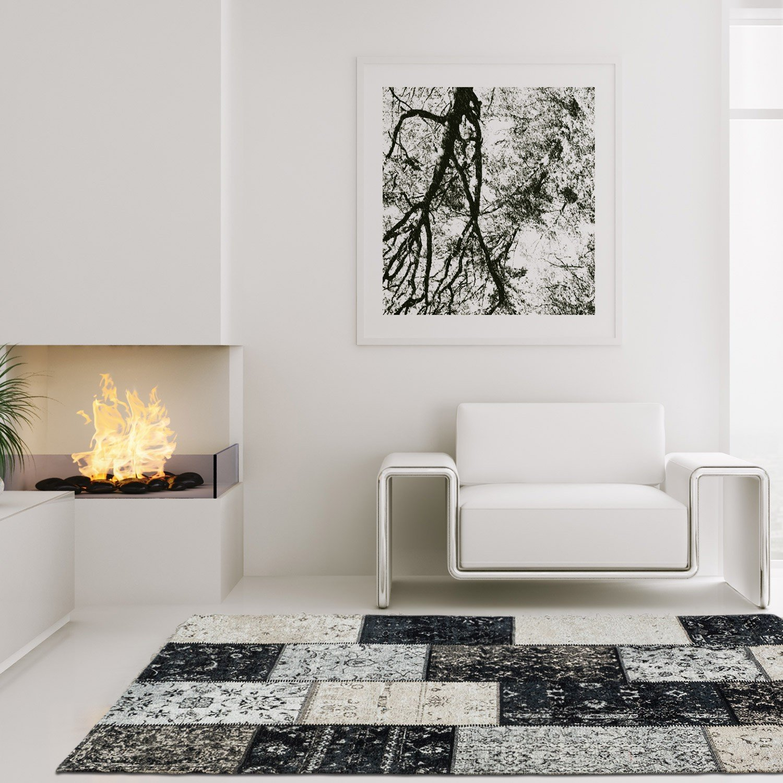 Lalee Hochwertiger Flachweb Cocoon Teppich Patchwork Verwaschene Elemente Vintage Grau, Größe in cm 160 x 230 cm