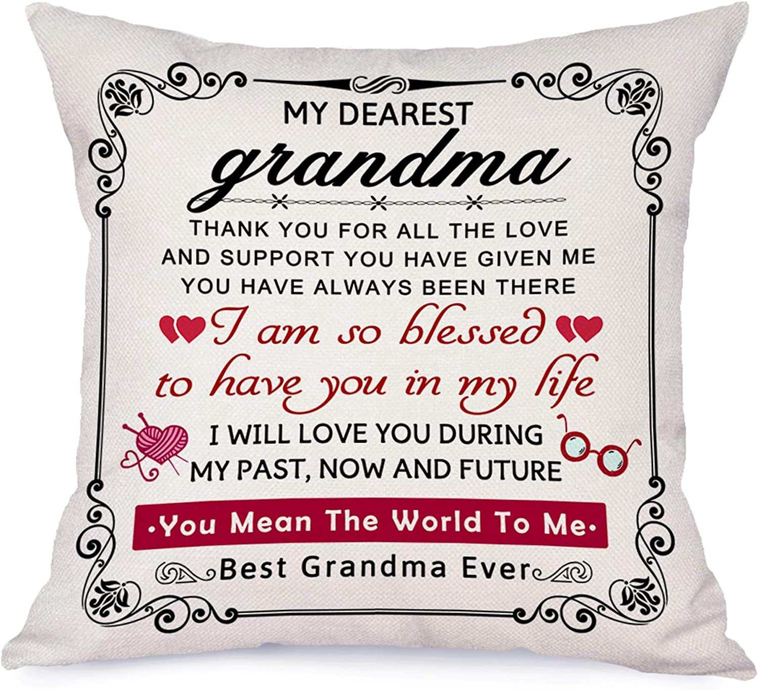 Amazon Com Bonsai Tree My Dearest Grandma Pillow Covers Love Quotes From Grandchildren Pillow Cases You Mean The World To Me Linen Throw Pillow Covers Christmas Birthday Gifts For Grandmother 18 X18 Home