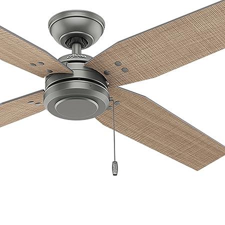 Hunter Fan 54 Contemporary Outdoor Ceiling Fan in Matte Silver, 4 Blade Renewed