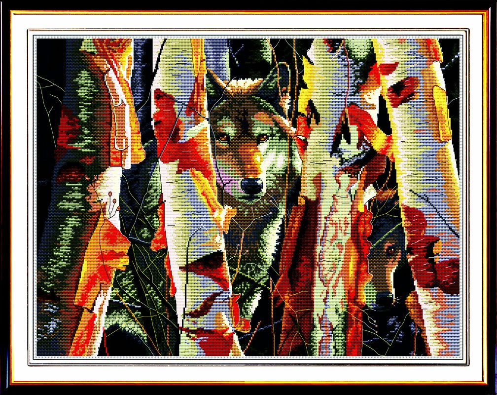 Happy Forever Cross Stitch, animal wolf, Defenders of birches by happy forever B00JX8R0WG