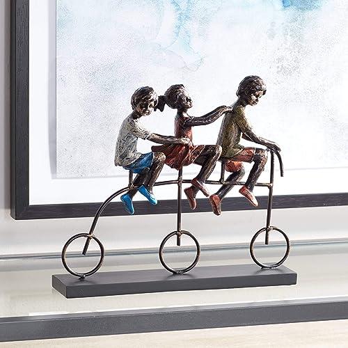 Dahlia Studios Children Riding Bike 12 3 4 Wide Sculpture