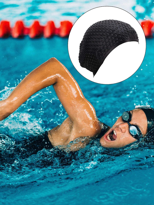 Gorro de natación de Cabello Largo Gorro de natación a Prueba de Agua de Silicona para Adultos, niños, Mujeres, Hombres, Mantiene el Cabello Limpio, Oreja Seca (Color 2): Amazon.es: Deportes y aire